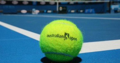 MELBOURNE, AUSTRALIA - JANUARY 05:  An Australian Open tennis ball rests on the court of the newly redeveloped Margaret Court Arena ahead of the 2014 Australian Open at Melbourne Park on January 5, 2014 in Melbourne, Australia.  (Photo by Scott Barbour/Getty Images)